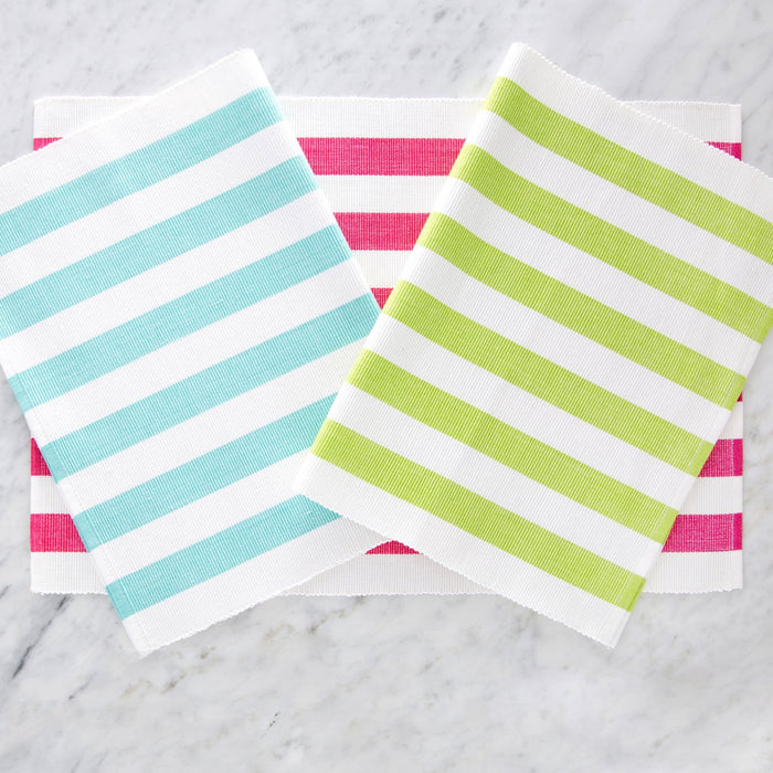 "Colorfully Striped Pink 100% Cotton Placemat (19"" x 13"")"