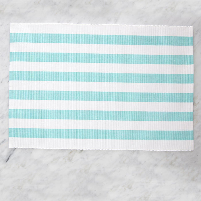 "Colorfully Striped Turquoise 100% Cotton Placemat (19"" x 13"")"
