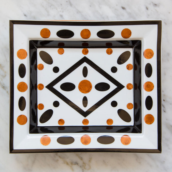 Copper & Black Parquet Cross Brace Decorative Tray