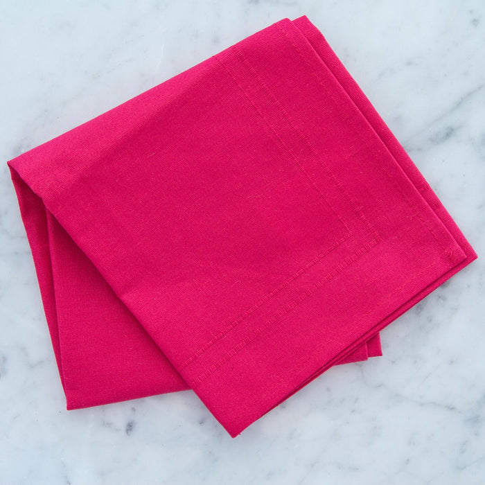 "Coral Pink 100% Cotton Single Stitch Embroidered Napkin (19"")"