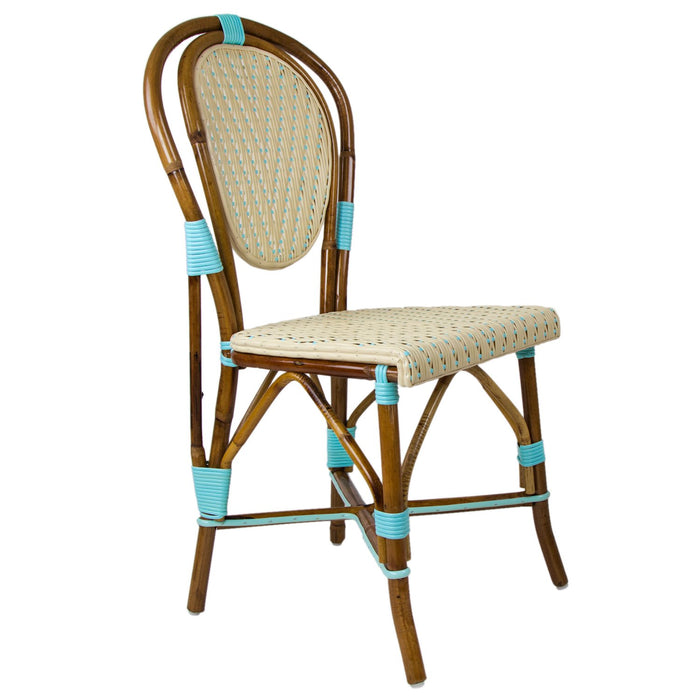 Cream & Azure Mediterranean Bistro Chair (V)
