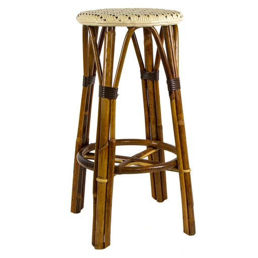 "Cream & Brown Bar Height Mediterranean Bistro Bar Stool (29"" h. seat) (L)"