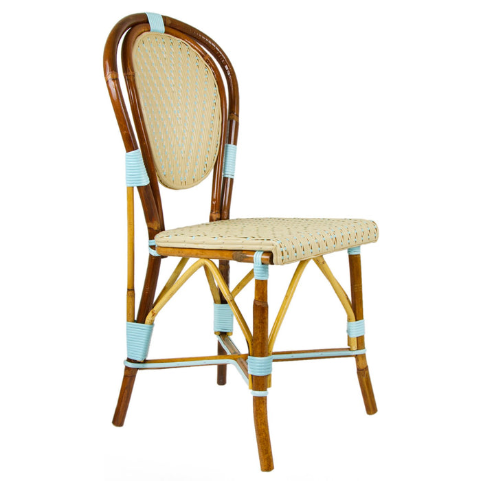 Cream & Light Azure Mediterranean Bistro Chair (L)