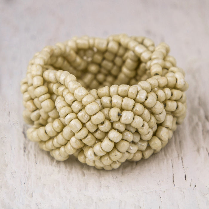Cream Beaded Napkin Ring