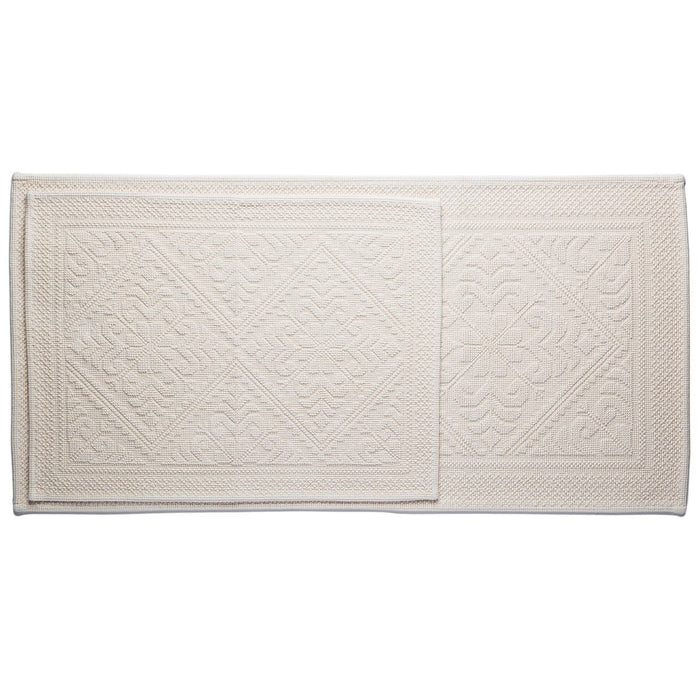 "Cream Cotton Bath Mat (43"" x 21"")"