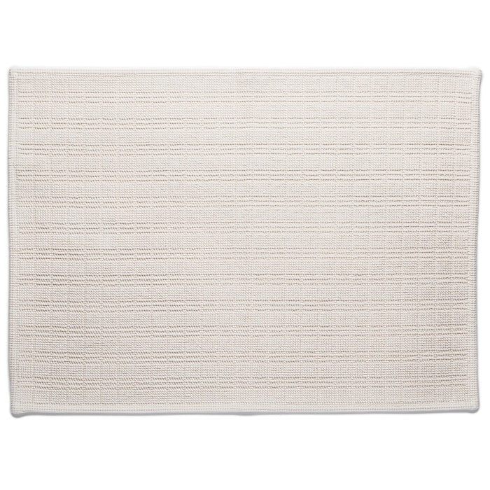 "Cream Motif Cotton Bath Mat (27"" x 20"")"