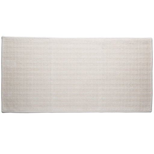 "Cream Motif Cotton Bath Mat (44"" x 22"")"