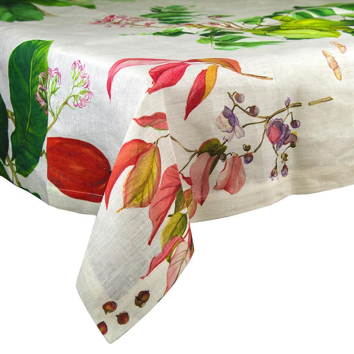 "Creole Vegetable Themed Linen Tablecloth (63"" x 91"")"