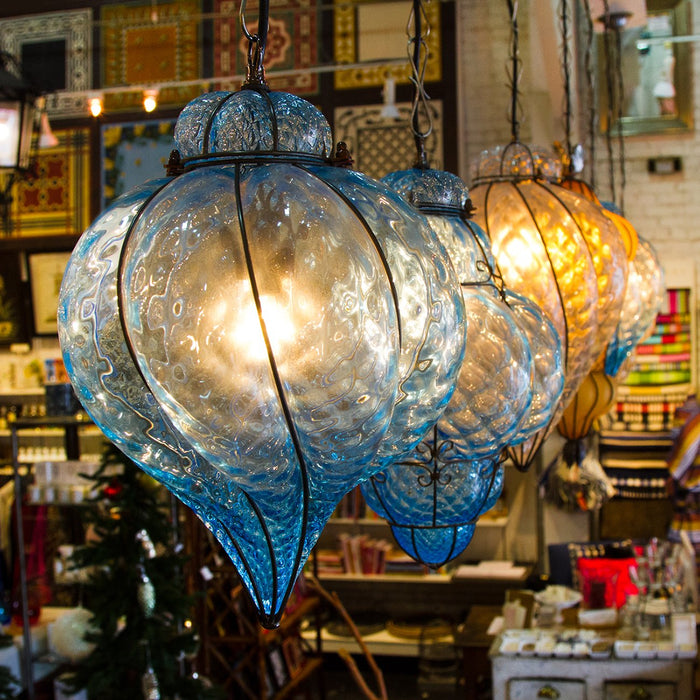 Cristallo Hot-Blown Artisan Murano Glass Baloton Lantern