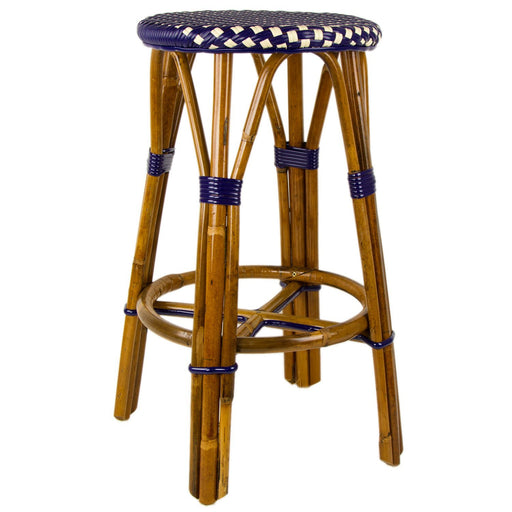 "Navy Blue & Cream Counter Height Mediterranean Bistro Bar Stool (26"" h) (E)"
