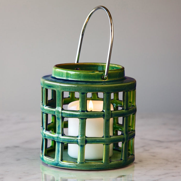 "Dark Green Crackle Hanging Lantern (5"" h)"