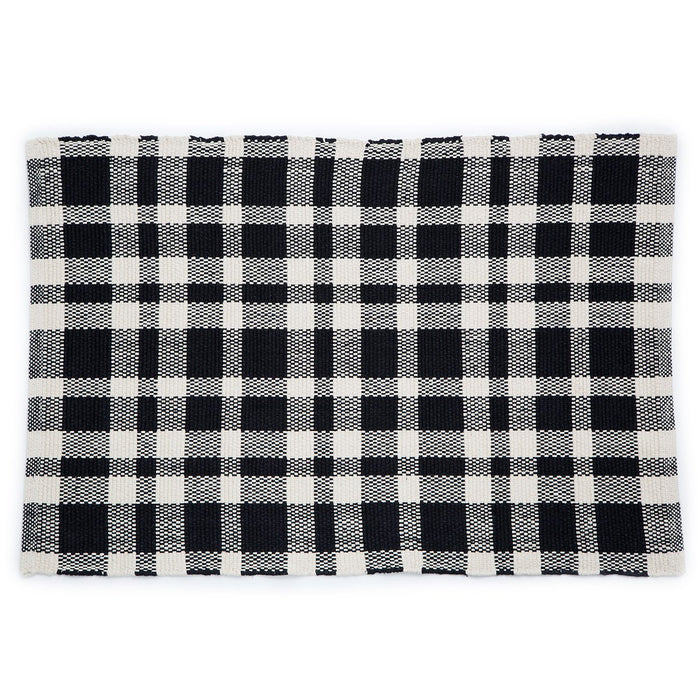 Dash & Albert Black Tattersall Indoor / Outdoor Rug