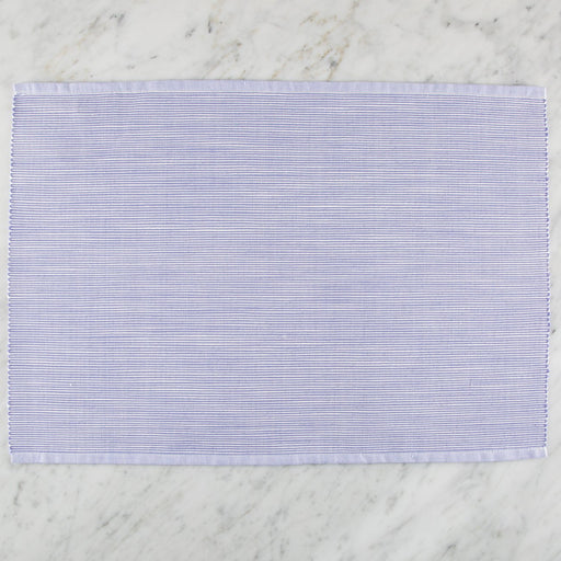 "Delicately Striped Blue 100% Cotton Placemat (18.75""x13"")"