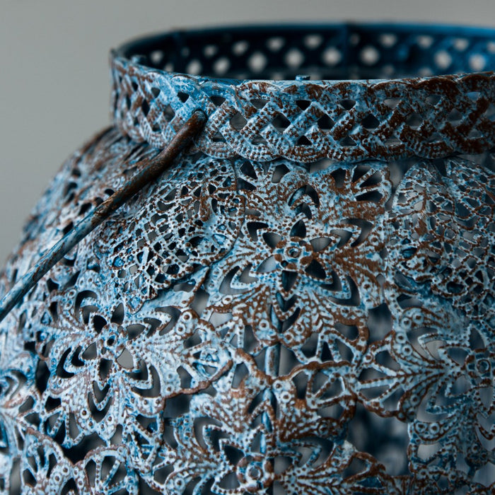 "Distressed Blue Laser Cut Metal Filigree Hanging Lantern (13.5"" h)"