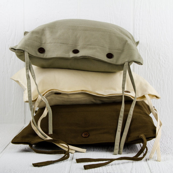 "Durable Khaki Cotton Seat Cushion (17"" x 16.5"")"