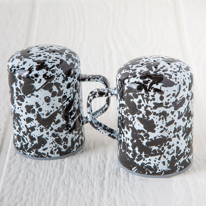 Enamelware Salt and Pepper Shakers (Black)