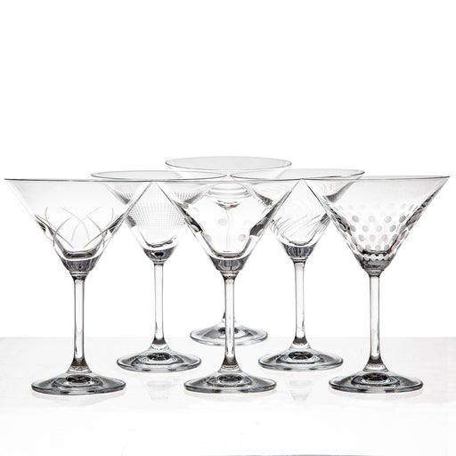 Etched Martini Glass Set