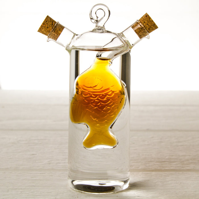 Fish Silhouette Oil & Vinegar Glass