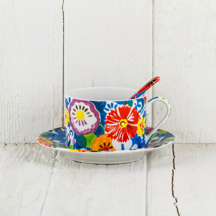 Floral Espresso Cup and Saucer with Spoon