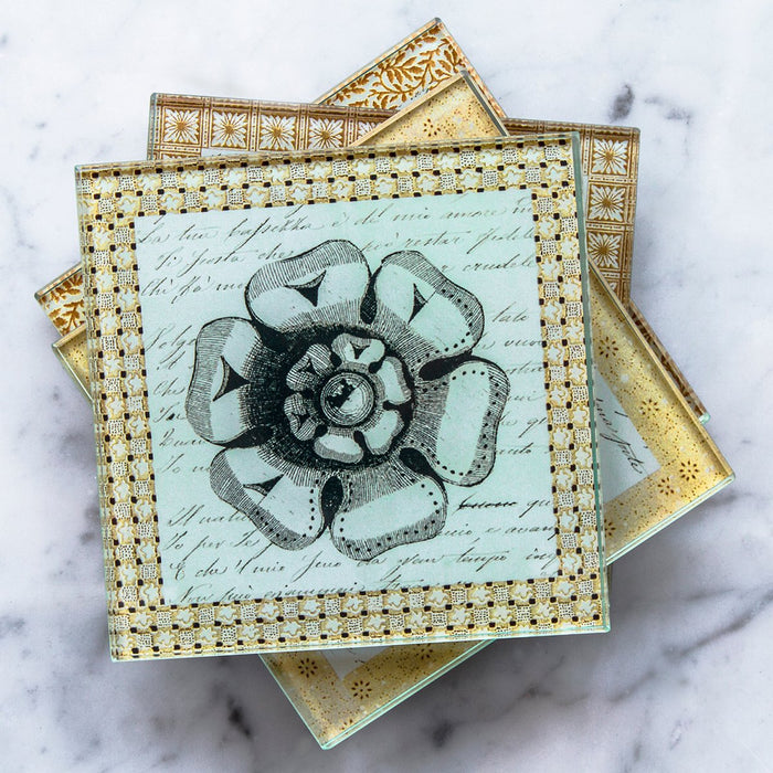 Floral Glass Coasters (Set of 4)