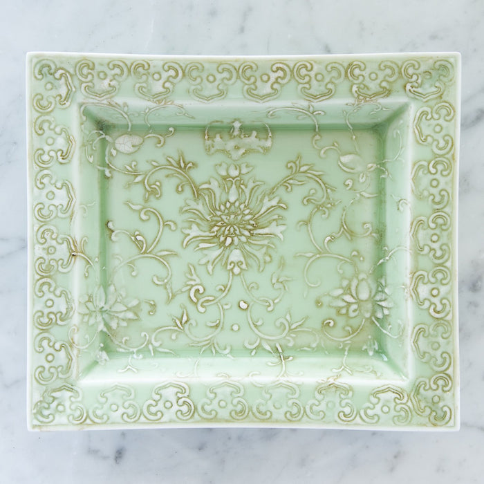 Floral Green Decorative Tray