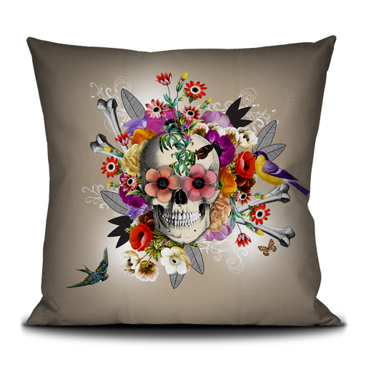 Floral Skull French Velvet Pillow