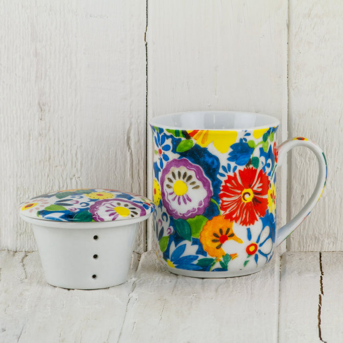 Floral Tea Mug with Infuser and Lid