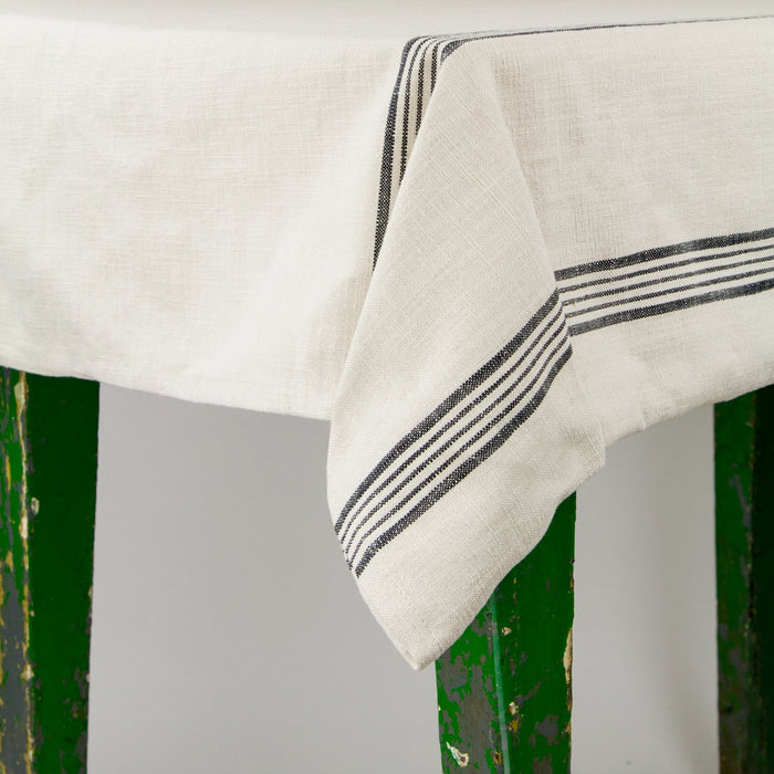 "French Striped Cotton Tablecloth (106"" x 67"")"