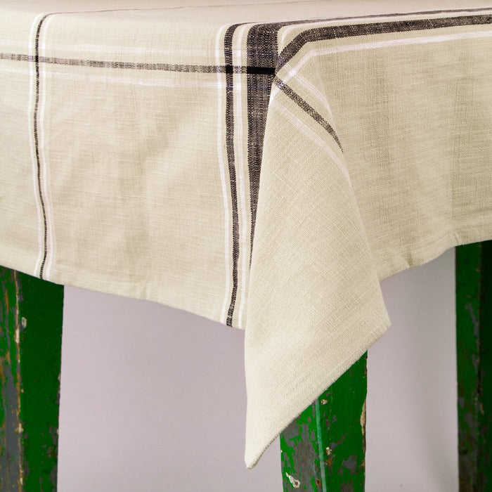 "French Striped Cotton Tablecloth (67"" x 67"")"