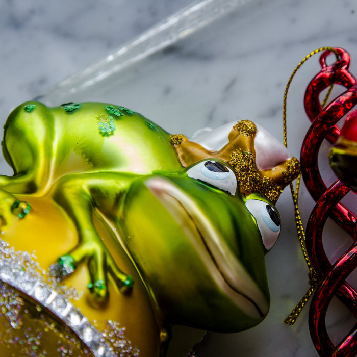 "Frog Prince Shimmering Glass Ornament (4.5""h)"