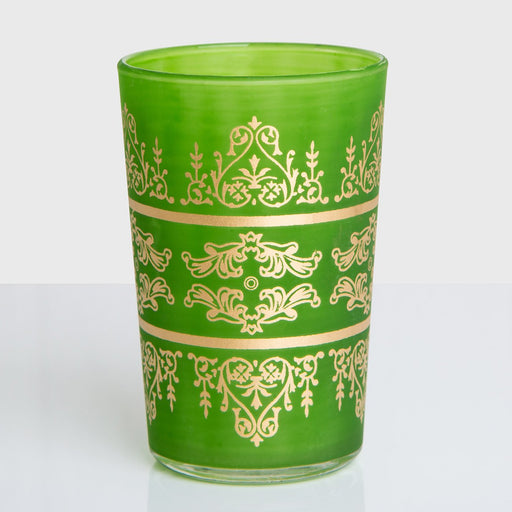 Frosted Green Motif Tea Glass