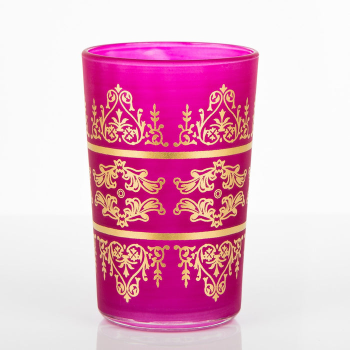 Frosted Pink Motif Tea Glass