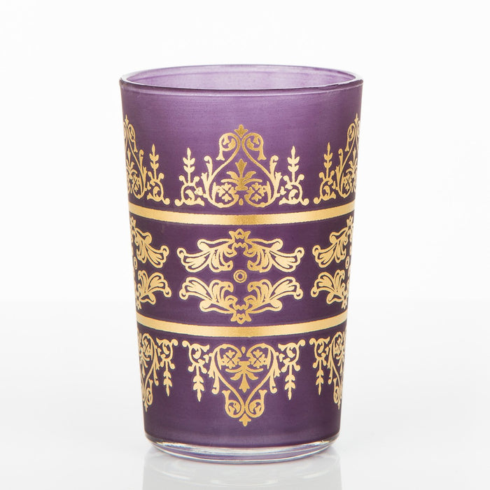 Frosted Purple Motif Tea Glass
