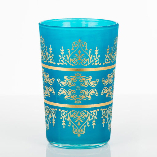 Frosted Turquoise Motif Tea Glass