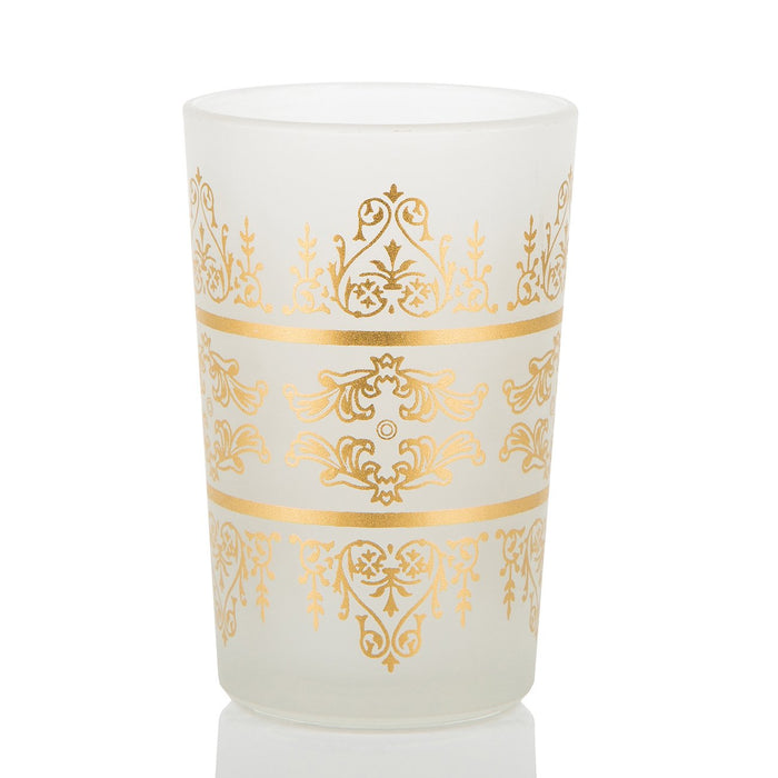Frosted White & Gold Motif Tea Glass