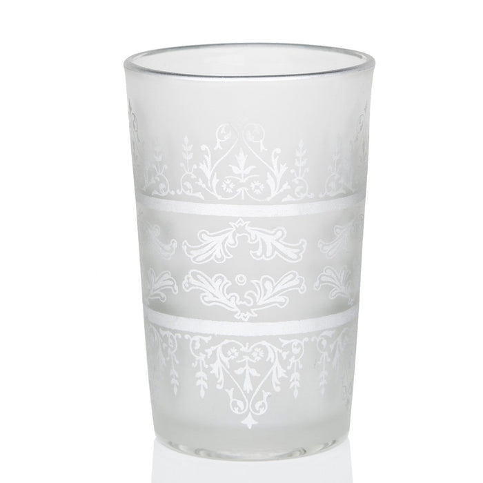 Frosted White & Silver Motif Tea Glass