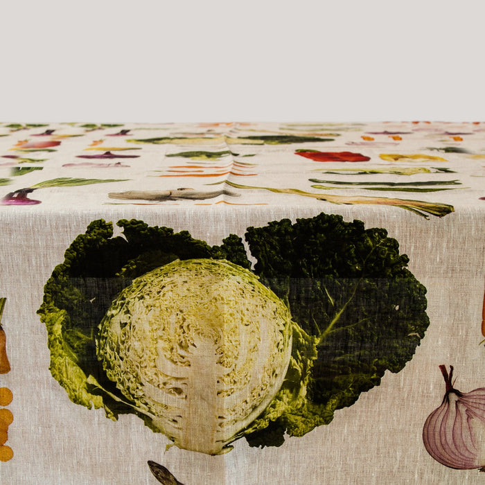 "Garden Vegetable Themed Linen Tablecloth (63"" x 91"")"