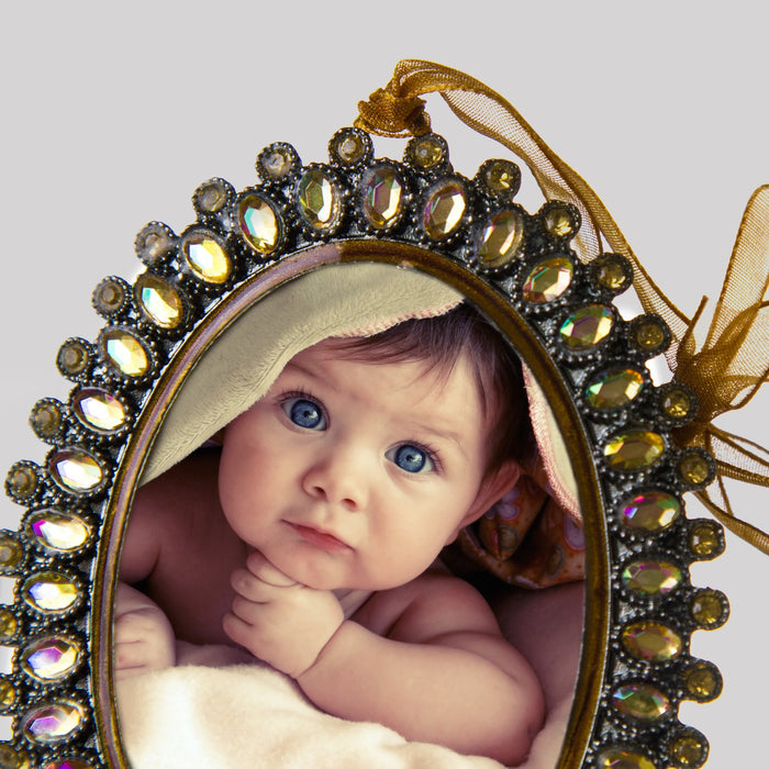 Gem Oval Picture Frame Ornament