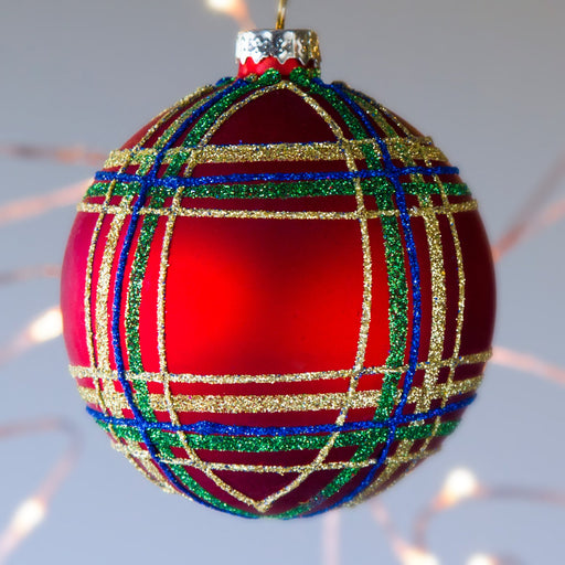 "Glitter Tartan Ball Glass Ornament (3.5""h)"