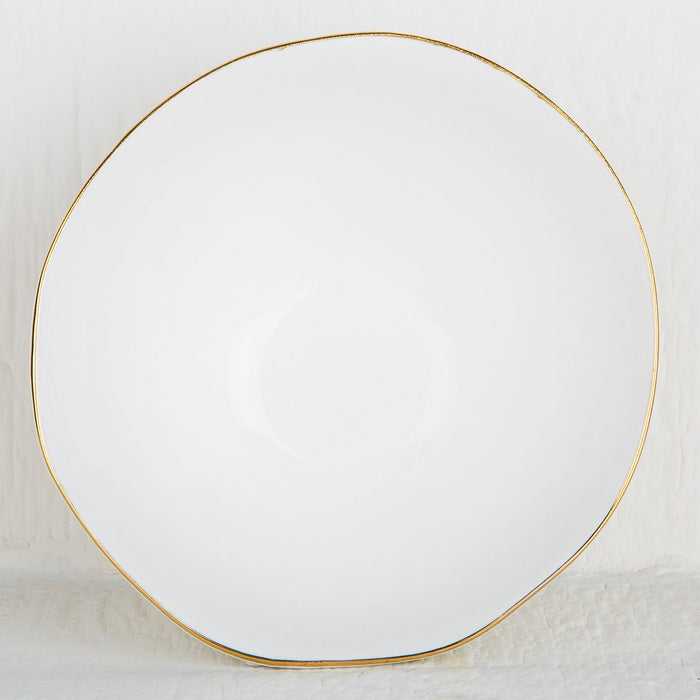 Gold Rimmed Ceramic Serving Bowl