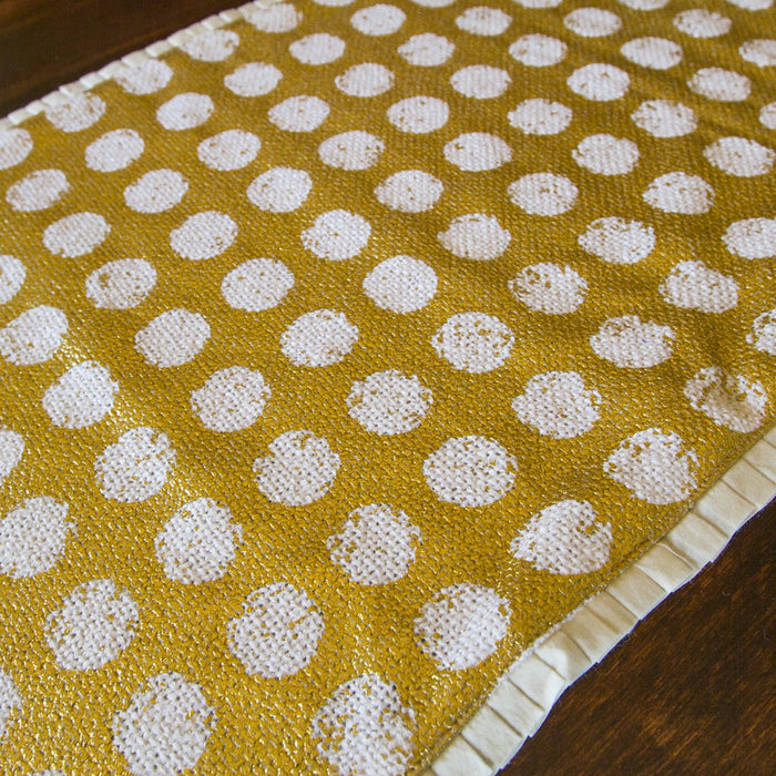 "Gold Wax Coated Polka Dot Placemat (22.75"" x 14.75"")"