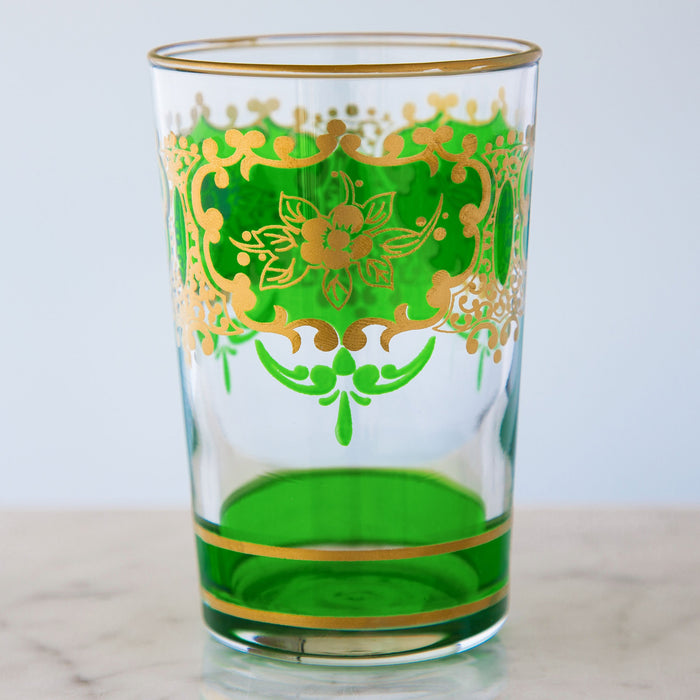 Grass Green and Gold Ornate Moroccan Tea Glass