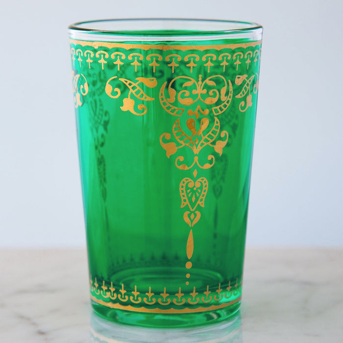 Green and Gold Filigree Moroccan Tea Glass