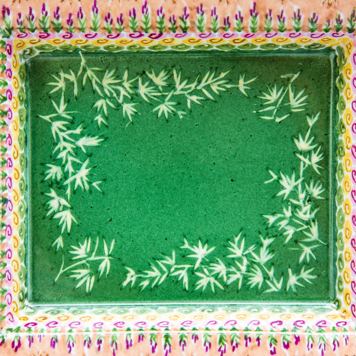 Green Bamboo Decorative Tray
