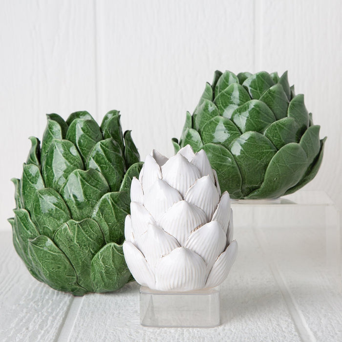 Green Ceramic Artichoke Candle Holder