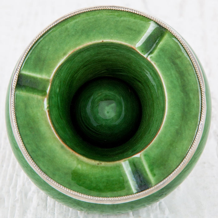 "Green Ceramic Ashtray with Metal Filigree (3.25"")"