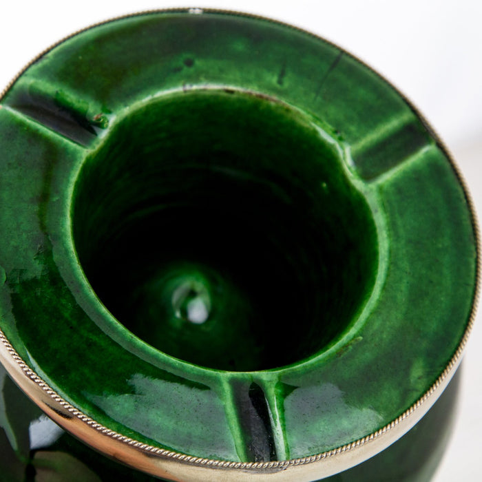 "Green Ceramic Ashtray with Metal Filigree (4"" h)"