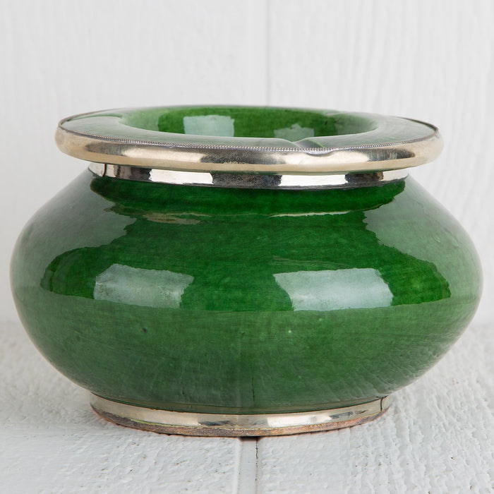 "Green Ceramic Ashtray with Metal Filigree (4.5"" h)"