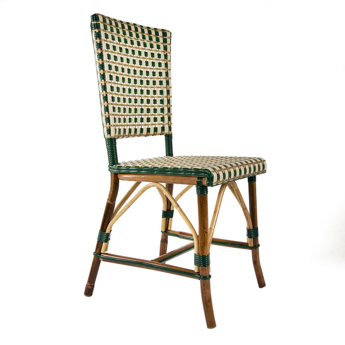 Green, Cream & Gold Mediterranean Bistro Square Back Stripe Chair