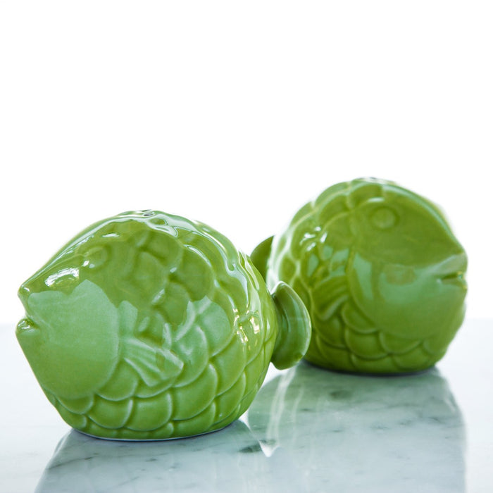 Green Fish Salt & Pepper Shakers